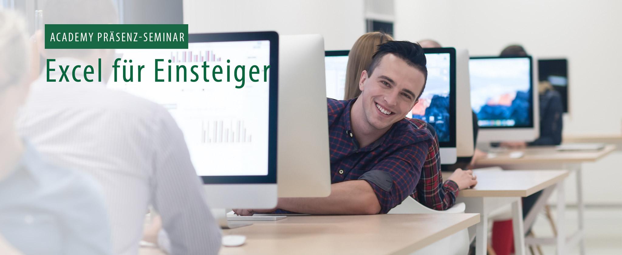 """EDV Schulungsraum, Text: """"""""Präsenzseminar Excel für Einsteiger"""""""